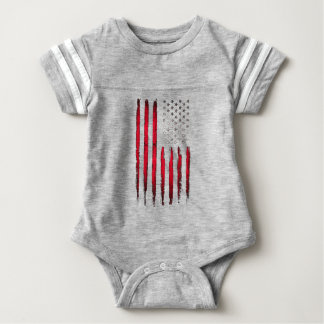 American flag Red Grunge Baby Bodysuit