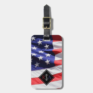American Flag | Red White and Blue USA Monogram Luggage Tag