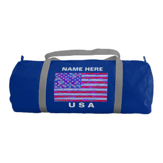 American Flag Red White And Blue USA Patriotic Gym Duffel Bag
