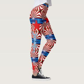 American Flag Red White Blue Custom Name Leggings