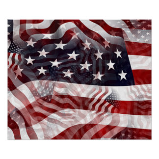 American Flag Red White Blue Stripes Stars Pattern Poster
