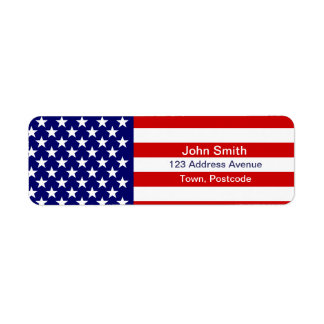 American flag return address label