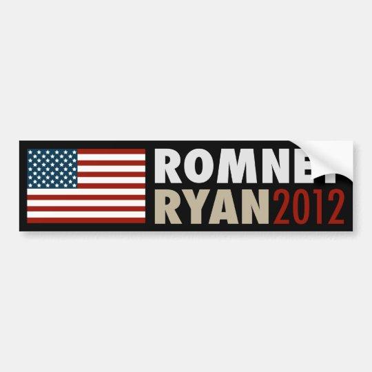 American Flag Romney-Ryan 2012 Bumper Sticker Blk