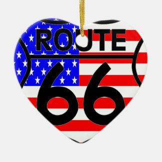 American Flag Route 66 Shield Stars & Stripes 2 Ceramic Heart Decoration