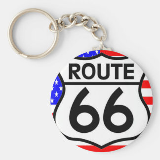 American Flag Route 66 Shield Stars & Stripes Basic Round Button Key Ring