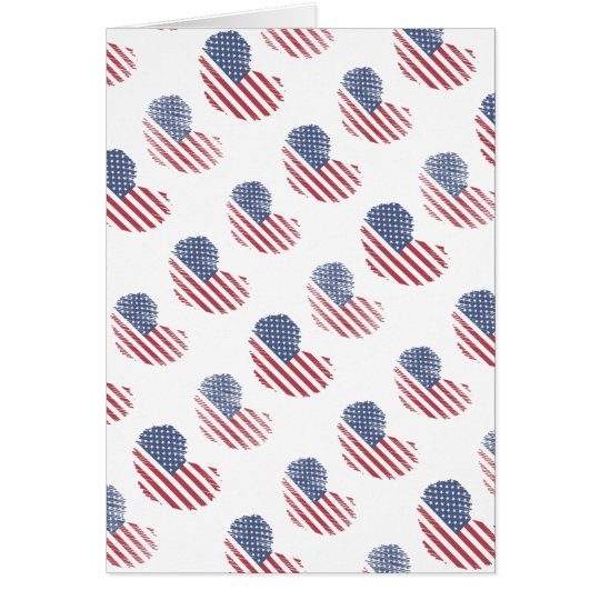 American Flag Rustic Heart Print Card