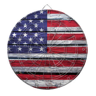 American Flag Rustic Wood Dartboard