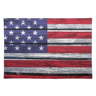 American Flag Rustic Wood Placemat