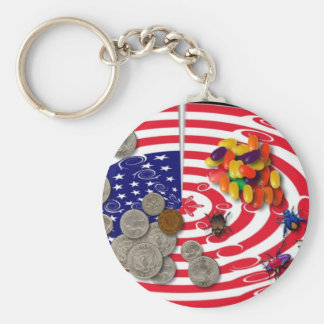 american flag scandal basic round button key ring