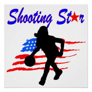 AMERICAN FLAG SHOOTING STAR BASKETBALL GIRL POSTER