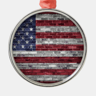 American flag. Silver-Colored round decoration