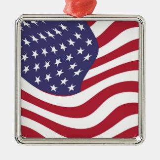 AMERICAN FLAG Silver-Colored SQUARE DECORATION