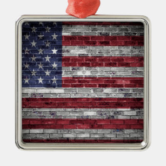American flag. Silver-Colored square decoration