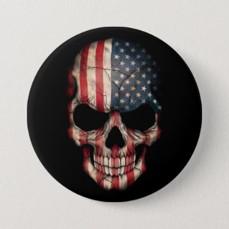 American Flag Skull on Black 7.5 Cm Round Badge