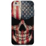 American Flag Skull on Black Tough iPhone 6 Plus Case
