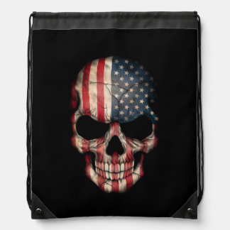 American Flag Skull on Black Drawstring Bag