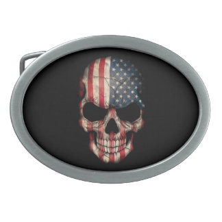 American Flag Skull on Black Oval Belt Buckles