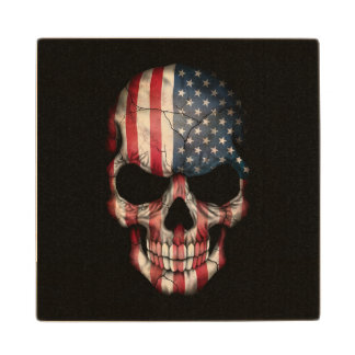 American Flag Skull on Black Wood Coaster