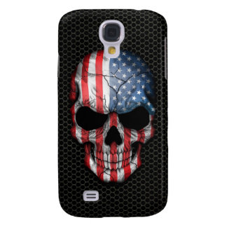 American Flag Skull on Steel Mesh Graphic Galaxy S4 Case