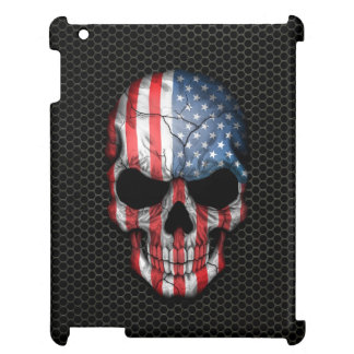 American Flag Skull on Steel Mesh Graphic iPad Case