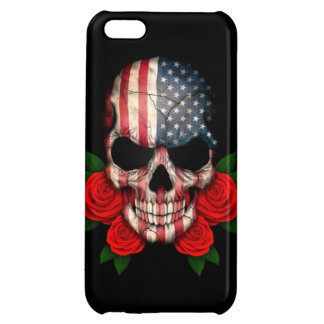 American Flag Skull with Red Roses iPhone 5C Case