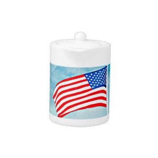 American Flag Small Tea Pot