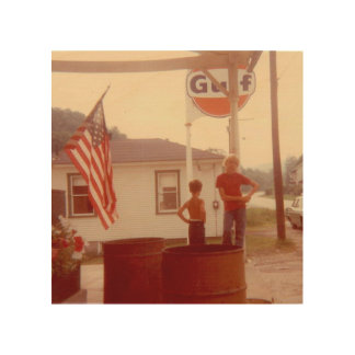 American Flag Small Town 4th of July 4Alex Wood Canvases