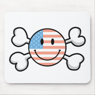 american flag smiley crossbones mouse mat