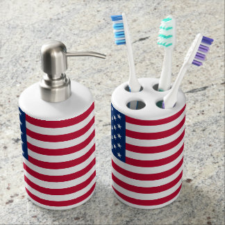 American Flag Soap Dispenser And Toothbrush Holder