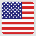 American flag square sticker