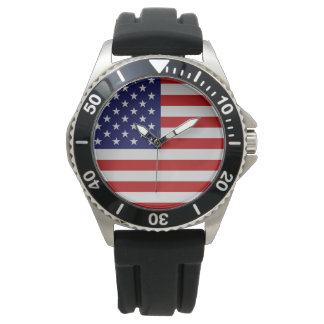American Flag Stainless Steel Bracelet Watch
