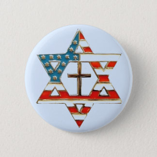 American Flag Star of David With Cross 6 Cm Round Badge