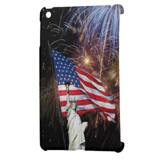 American Flag, Statue of Liberty and Fireworks iPad Mini Covers