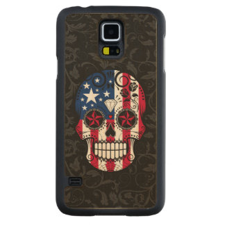 American Flag Sugar Skull with Roses Carved Maple Galaxy S5 Case