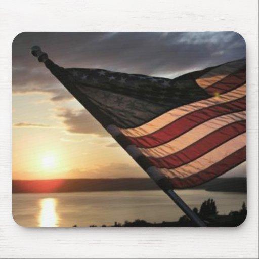 American Flag Sunset Mousepads