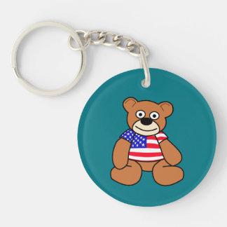 American Flag Teddy Bear Double-Sided Round Acrylic Key Ring