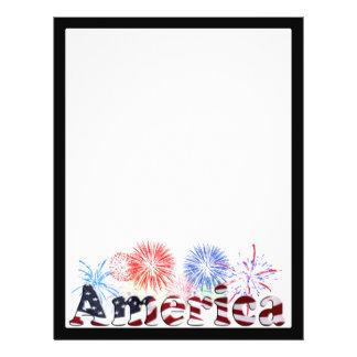 American Flag Text w/Fireworks Flyer Design