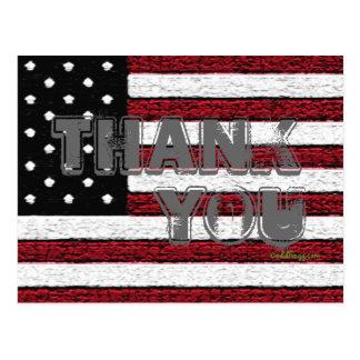 American Flag Thank You Postcard Gray