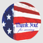 American Flag Thank You Round Stickers