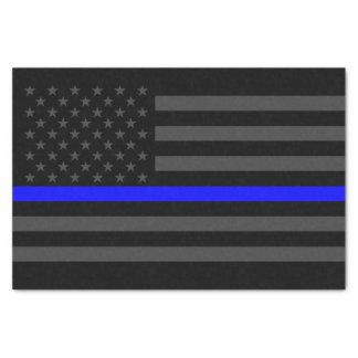 American Flag Thin Blue Line Classic Symbol on Tissue Paper