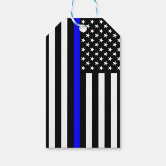 American Flag Thin Blue Line Rememberance on a Gift Tags