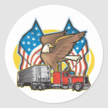 American Flag Trucker Stickers