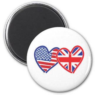 American Flag/Union Jack Flag Hearts 6 Cm Round Magnet
