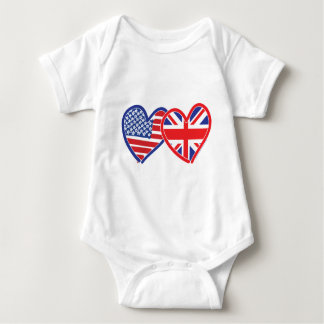 American Flag/Union Jack Flag Hearts Baby Bodysuit