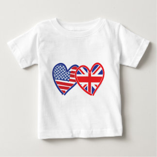 American Flag/Union Jack Flag Hearts Baby T-Shirt