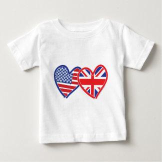 American Flag/Union Jack Flag Hearts Baby T-Shirt