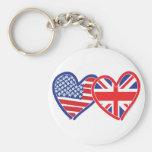American Flag/Union Jack Flag Hearts Basic Round Button Key Ring