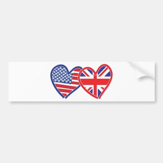 American Flag/Union Jack Flag Hearts Bumper Sticker