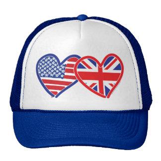 American Flag/Union Jack Flag Hearts Trucker Hats