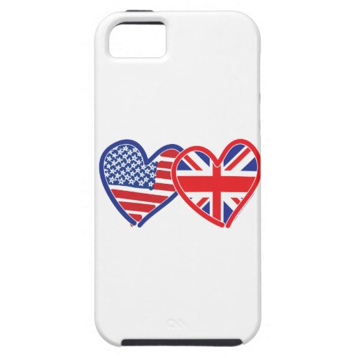 American Flag Union Jack Flag Hearts iPhone 5 Covers